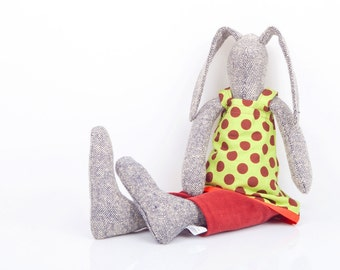 Easter basket toy Cuddling doll modern gray woven silk rabbit doll in green dotted dress & Burgundy pants under, stuffed bunny eco rag doll