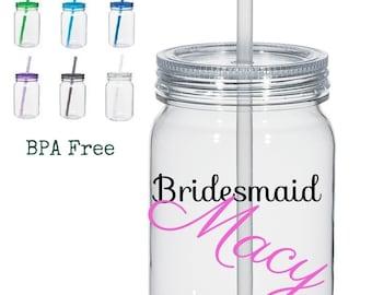Plastic Mason Jars, 1 25oz Acrylic Mason Jar, Personalized Bridesmaids Mason Jars, Wedding Party Mason Jars, Wedding Favors, Party Favors