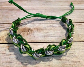Green and Silver Bracelet, Braided Bracelet, Tricolor Bracelet, Simple Braided Bracelet, Neon Braided Bracelet, Sparkly Bracelet