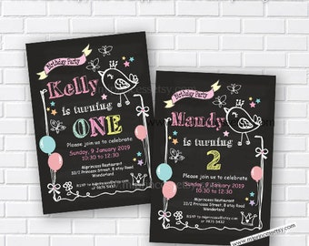Birdie Birthday Invitation any age for kids birthday invitation Party 1st 2nd 3rd 4th 5th Fun Happy party Invitation Card Design - card 060