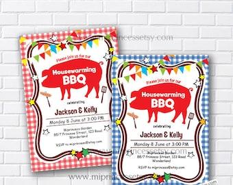 housewarming invitation, bbq invites, New house Housewarming BBQ gathering party Invitation, Backyard, Barbecue - card 474