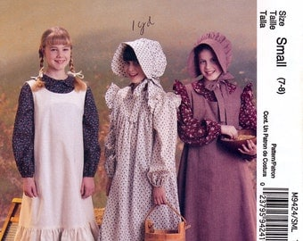 McCall's M9424 Sewing Pattern for Girls' Pioneer Early American Costumes - Uncut - Size Small 7-8