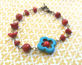 Red Bamboo Coral and Turquoise Magnesite Bracelet With Antiqued Gold-Plated Accents