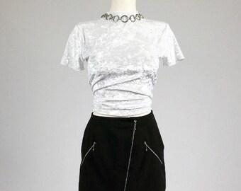 90's Asymetrical Zipper Black Minimal Clueless Mini Skirt S - M