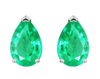 3 Prong Emerald Earrings, Emerald Earrings, Pear Cut Emerald Stud Earrings 1.70 Carat, Natural Pear Earrings, Colombian Emerald Earrings 14K