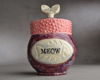 Cat Treat Jar Ready To Ship Fish Tail Fish Stamped Cat Treat Jar by Symmetrical Pottery