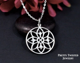 Mandala Necklace Sterling Silver | Mandala Necklace | Yoga Necklace | Friendship Necklace | Namaste, Eternity, Unity, Symbolic