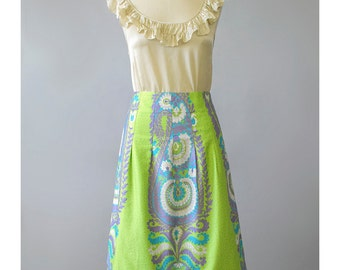SALE - 90s Skirt Floral Print Mod Mini Skirt Psychedelic Skirt A Line Boho Hippie 1990s Skirt Cotton Skirt Green Floral Skirt