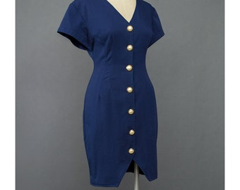 SALE - Navy Blue Dress 80s Dress Button Up Dress V Neck Bodycon Dress 1980s Dress Secretary Dress Blue Mini Dress Small Medium