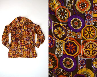Vintage 1970's Silky Far Out Long Sleeved Blouse Women's Medium Retro/Hippie/Boho