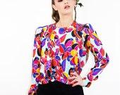 Vintage Silk EMANUEL UNGARO Paris Floral Blouse // TatiTati Style on Etsy