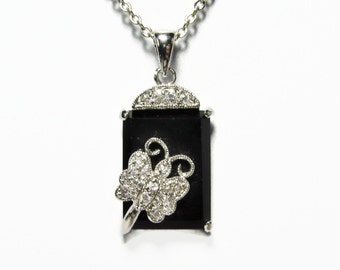 Butterfly Pendant, Sterling Silver, Black Onyx, Clear Crystal, Vintage Jewelry, 925 Silver, Pendant Necklace, Sterling Jewelry