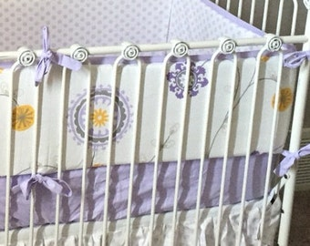 Custom Made to Order Baby girl crib bedding in Lilac and Gray Floral