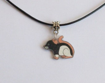 Fancy Rat Necklace Black Hooded Pet Rat Mouse Pendant