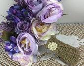 Wedding bouquet, Rustic wedding, Burlap wedding, Bridal bouquet, Purple wedding bouquet, Country wedding, Wedding accessories, Barn wedding