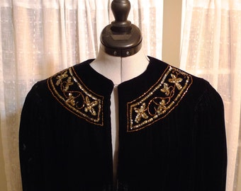 Black Velvet Cape Vintage Beaded Opera Cape 1950's Victorian Wrap Party Goth Embellished Beads Sequins Womens Medium to Large