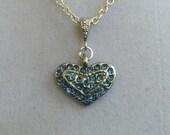 Heart Shape Blue Crystal Necklace
