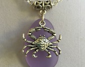 Lavender Sea Glass and Silver Crab Necklace