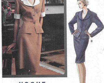 Vogue 7745 Misses' 90s Classic Top & Skirt Suit Sewing Pattern Size 12-16 Bust 34-38