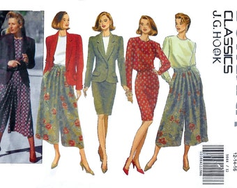 Butterick 5644 JG Hook Misses' 90s Jacket Blouse Skirt & Split Skirt Sewing Pattern Size 12 to 16 Bust 34 to 38