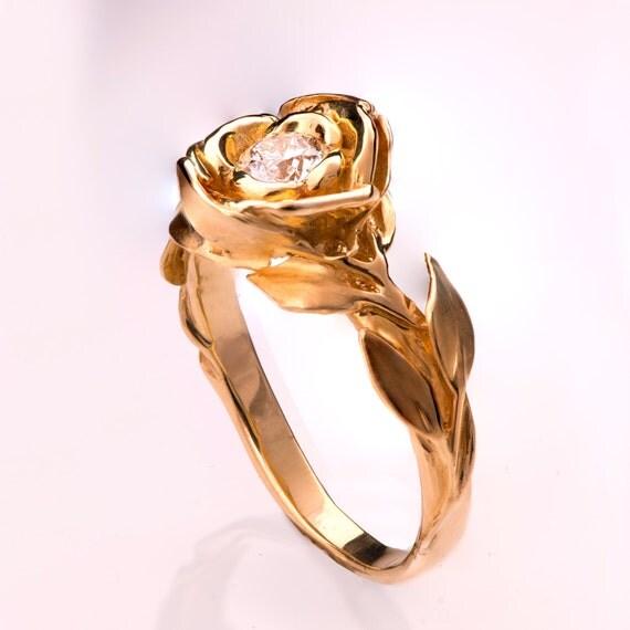 Rose Engagement Ring Rose Gold engagement ring leaf ring