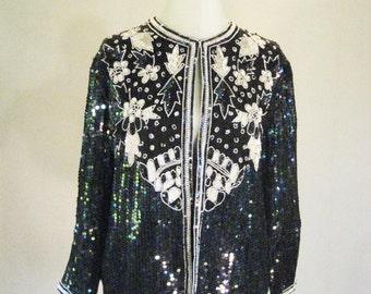 Jewel Queen Iridescent Floral Sequin Cardigan Jacket Top Glam