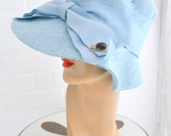 1960s Gus Mayer Blue Floppy Hat with Insect Brooch