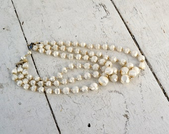 1950s White Bead Multi-Strand Necklace