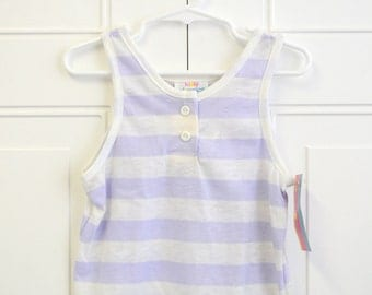 1980s NOS Lavender and White Girls' Striped Tank Top