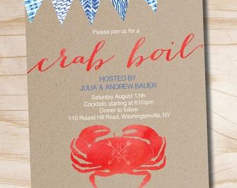 Kraft Watercolor Crab Boil Invitation Engagement Party Rehersal Dinner Invitation - Printable digital file or printed invitations