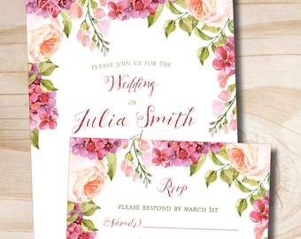 Watercolor Floral Peony Lilac Spring Summer Wedding Invitation and Response Card Invitation Suite