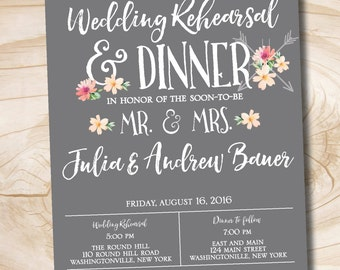 Modern succulent floral Rehearsal Dinner Invitation - Printable digital file or printed invitations