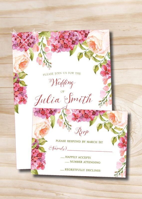 Watercolor Floral Peony Lilac Spring Summer Wedding Invitation