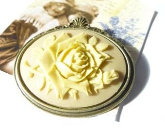 Antique Bronze Cream on Tan Wild Rose Cameo Brooch pin
