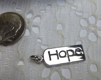 "Hope Charms Hope Tag Charms Hope Pendants Hope Dangles 3/8"" x 3/4""/Tibetan Silver Quantity 2"