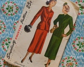 Vintage 1940s Sewing Pattern / Smart Skirt Suit / Slim Skirt / Fitted Jacket / Simplicity 2376 / 34 Bust