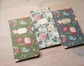 Cute little floral notebook. Romantic zakka small unlined kraft paper journal moleskine notepad. Blue, green, pink color