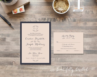 Blush Pink and Navy Blue Wedding Invitations - Simple, sweet, boho chic
