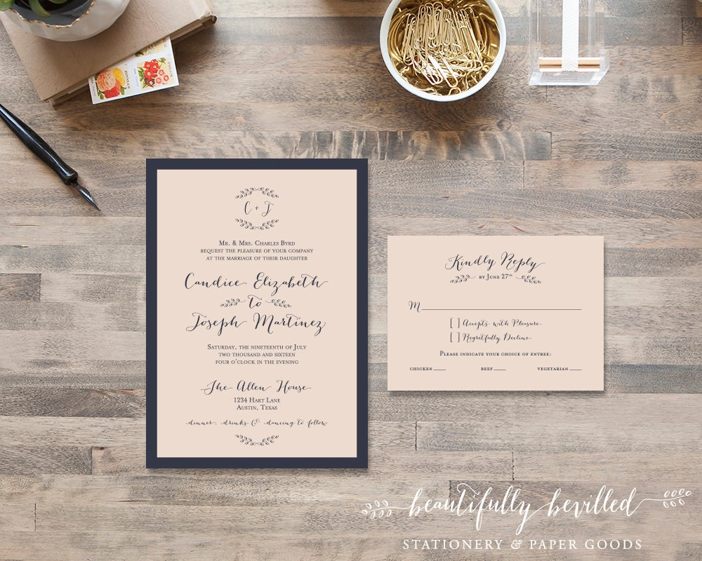 Pink And Navy Blue Wedding Invitations: Blush Pink And Navy Blue Wedding Invitations Simple Sweet