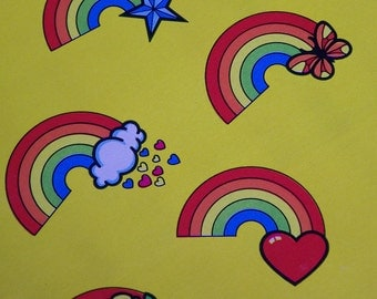 Vintage Gift Wrap Sheet - All Occasion Juvenile 80s - Rainbow