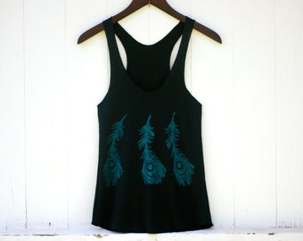 Yoga Layering Racerback Tank Top for Women - Peacock Feather - Black Hemp Organic Cotton Jersey -  Organic Clothing