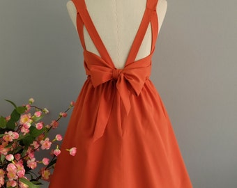 A Party Dress V Shape Dark Orange Prom Dress Cocktail Party Dress Wedding Bridesmaid Dress Dark Orange Party Dress Mini Dress Custom Made