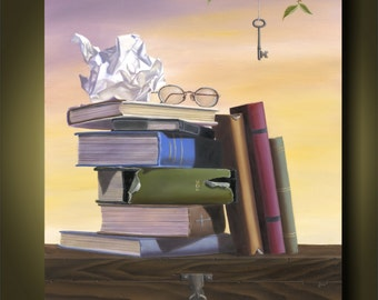 You Have the Key...by Kimberly Fox....Book Painting...Fine Art... Canvas or Paper Print...surrealism...kids room...nursery art...library