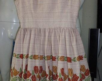 1950's Girls Early Teens JOHN WOLF Tulip Border Print Dress Sundress Dress Novelty Waist Rockabilly VlV