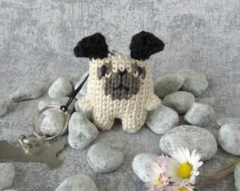 Charm Pug Dog, small Toy Doggie with Keyring and bone pendant, funny Miniature Pug, handmade plush toy, for animal lovers, bone shaped charm