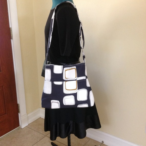 Hobo bag,  Blue and White bag, Geometric deisgns, I-pad bag