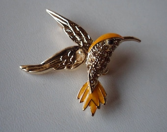 Hummingbird Pin! Orange Swarovski Crystals & Orange Enamel! Gold Plated Hummingbird! Very Nice Brooch! Hummingbird Lovers! Ships Free Sale!