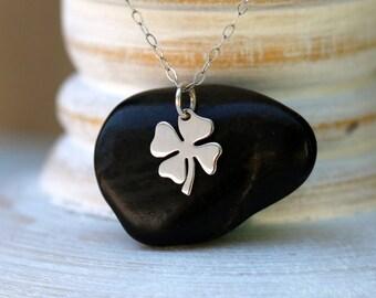Four Leaf Clover Necklace, Sterling Silver Four Leaf Clover Necklace, Clover Charm Necklace, Four Leaf Clover Charm Necklace, Good Luck