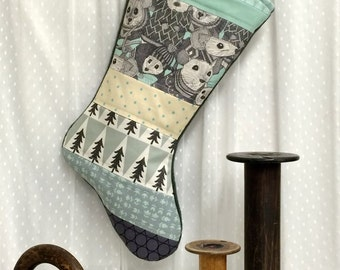 Christmas Stocking - Holiday Mice - Patchwork, Winter, Mint Aqua, Tan, Grey, Gray, Xmas Trees, Charcoal, Mice in Sweaters