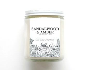 SANDALWOOD & AMBER - Perfumed Soy Candle, Vegan, Natural Home Fragrance